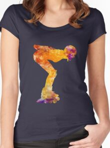 Woman in roller skates 09 in watercolor Women's Fitted Scoop T-Shirt