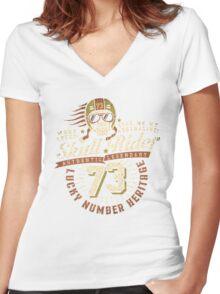Grunge racer logo Women's Fitted V-Neck T-Shirt