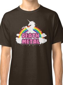 DEATH metal parody funny unicorn rainbow  Classic T-Shirt