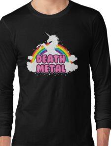 DEATH metal parody funny unicorn rainbow  Long Sleeve T-Shirt