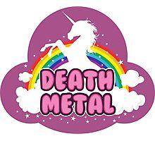 DEATH metal parody funny unicorn rainbow  Photographic Print