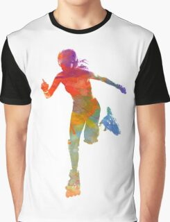 Woman in roller skates 12 in watercolor Graphic T-Shirt