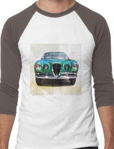 Vintage Supercar Watercolor Men's Baseball ¾ T-Shirt