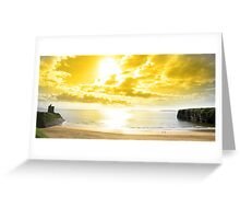 panorama of a Beautiful yellow sun over the Ballybunion beach Greeting Card