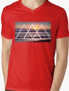 Geometric Sunset Mens V-Neck T-Shirt
