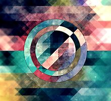 Colorful Grunge Geometric Abstract by Phil Perkins