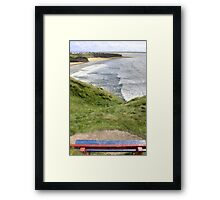 view of beach and cliffs in Ballybunion from bench Framed Print