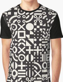 Black and White Irregular Geometric Pattern Graphic T-Shirt