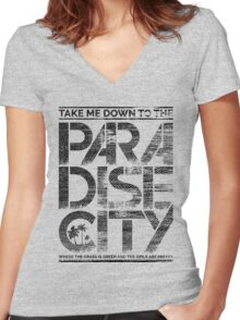 Paradise City Women's Fitted V-Neck T-Shirt