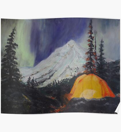 Camping Under The Aurora Poster