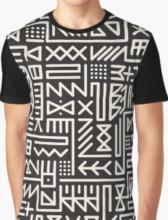 Black And White Rounded Line Geometric Hipster Signs Pattern Graphic T-Shirt