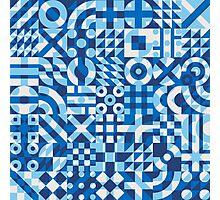 Blue White Irregular Geometric Blocks Pattern Photographic Print