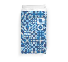 Blue White Irregular Geometric Blocks Pattern Duvet Cover