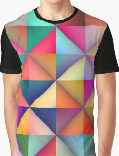 Multicolor Triangle Square Tiles Geometric Pattern Graphic T-Shirt
