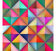Multicolor Triangle Square Tiles Geometric Pattern Photographic Print