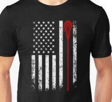 Lacrosse Stick - Lacrosse American Flag Shirt Unisex T-Shirt
