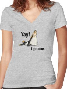 Bride dragging reluctant groom, Yay! I got one. Women's Fitted V-Neck T-Shirt