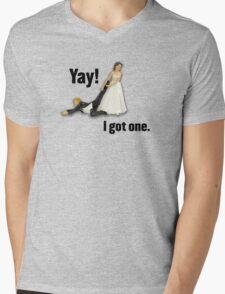 Bride dragging reluctant groom, Yay! I got one. Mens V-Neck T-Shirt
