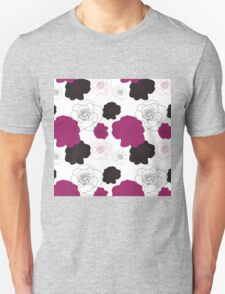 Black and Pink Roses on White Unisex T-Shirt