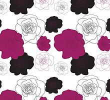 Black and Pink Roses on White by Katayoonphotos