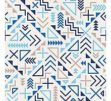 Jumble Geometric Shapes Blue Pattern Abstract Print Design Photographic Print
