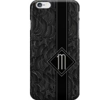 1920s Jazz Deco Swing Monogram black & silver letter M iPhone Case/Skin