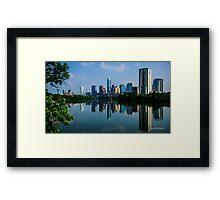 Austin Skyline a Green Reflection Framed Print