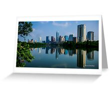 Austin Skyline a Green Reflection Greeting Card