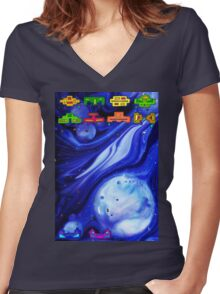 Space Invasion 1977 (Blue) Women's Fitted V-Neck T-Shirt