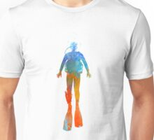 Man scuba diver 04 in watercolor Unisex T-Shirt
