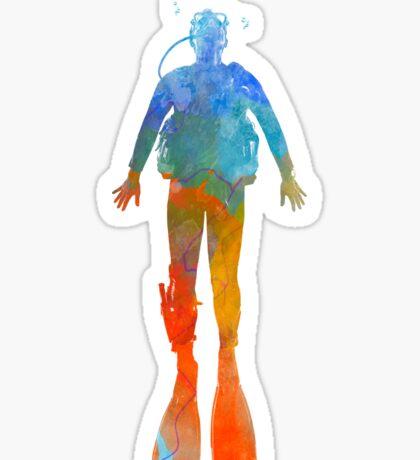Man scuba diver 04 in watercolor Sticker