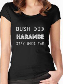 Bush Did Harambe! Stay Woke Women's Fitted Scoop T-Shirt