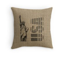 Rustic American Country Burlap Statue Of Liberty USA FLag Throw Pillow