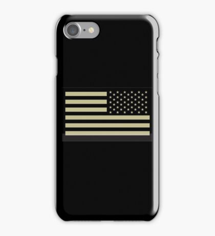 AMERICAN ARMY, Soldier, American Military, Arm Flag, US Military, IR, Infrared, USA, Flag, Reverse side flag, on BLACK iPhone Case/Skin
