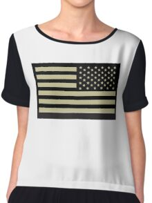 AMERICAN ARMY, Soldier, American Military, Arm Flag, US Military, IR, Infrared, USA, Flag, Reverse side flag, on BLACK Chiffon Top