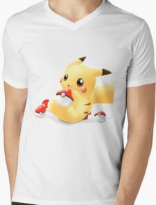 POKEMON - PIKACHU (CUTE) Mens V-Neck T-Shirt