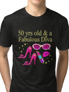 50 AND FABULOUS PARTY GIRL DESIGN Tri-blend T-Shirt