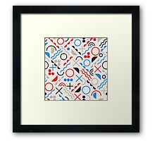 Jumble Shapes in Blue Red White Color Geometric Retro Pattern  Framed Print