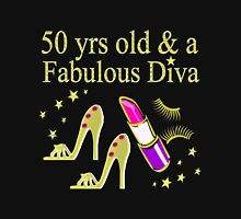 GLITZY GOLD HIGH HEEL 50TH BIRTHDAY DIVA Women's Fitted Scoop T-Shirt