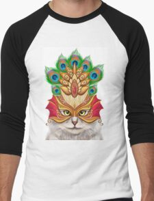 Creative portrait a cat in a mask Men's Baseball ¾ T-Shirt