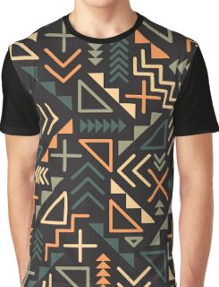 Retro Jumble Geometric Shapes Green Orange Color Pattern Abstract Print Graphic T-Shirt