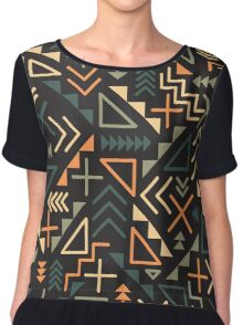 Retro Jumble Geometric Shapes Green Orange Color Pattern Abstract Print Chiffon Top
