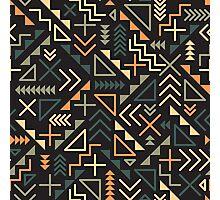 Retro Jumble Geometric Shapes Green Orange Color Pattern Abstract Print Photographic Print
