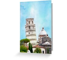 Watercolor painting of the Leaning tower in Pisa, Italy Greeting Card