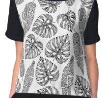 Tropical exotic palm leaves. Chiffon Top