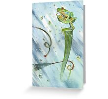 Madagascan Tree Frog on Pitcher Plant With Raindrops Greeting Card