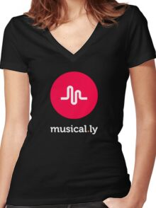 music logo tshirt, musical.ly Women's Fitted V-Neck T-Shirt