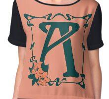 Fancy art nouveau letter A, flower Chiffon Top