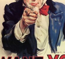 Uncle Sam I Want You For US Army Vintage Poster Sticker