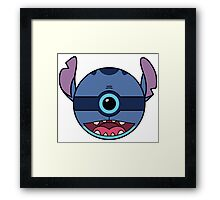 Stitch Pokemon Ball Mash-up Framed Print